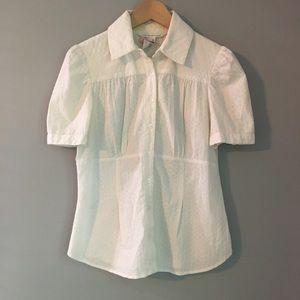 DVF White eyelet button down Short Sleeve 10